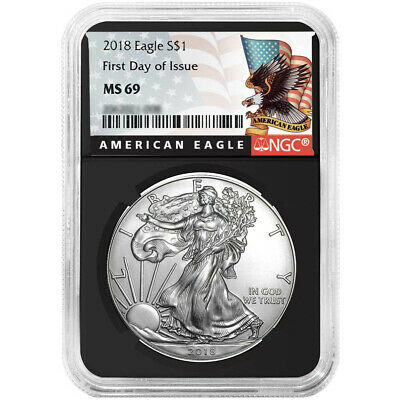 2018 $1 American Silver Eagle NGC MS69 FDI Black Label Retro Core