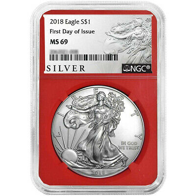 2018 $1 American Silver Eagle NGC MS69 ALS FDI Label Red Core