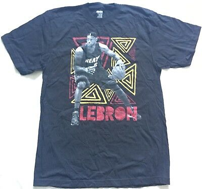 961c924663f U8 New REEBOK NBA Miami Heat LeBron James Black T Shirt Tee MEN S Large L
