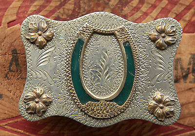 Vintage Hand Made Lucky Horseshoe Cowboy Cowgirl Western Belt Buckle