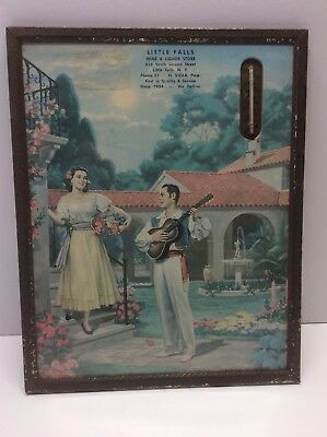 Vintage Advertising Picture And Thermometer Litho 1960 Spanish Scene N6