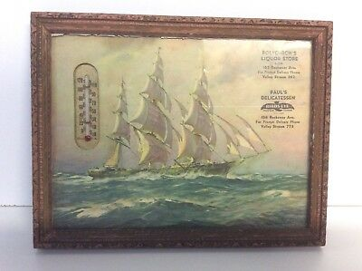 Vintage Advertising Picture And Thermometer Litho Ocean Sailing Tall Ship N2