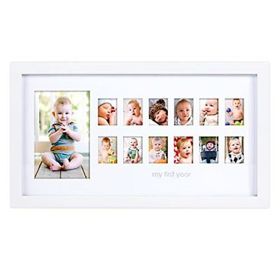 """OPENED BOX Pearhead """"My First Year"""" Photo Moments Baby Keepsake Frame, White"""