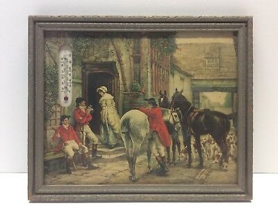 Vintage Fox Hunt Litho And Thermometer Lithograph 11 X 9 Inches N5