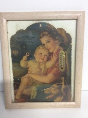 Vintage Advertising Picture And Thermometer Litho Woman And Baby Early N5