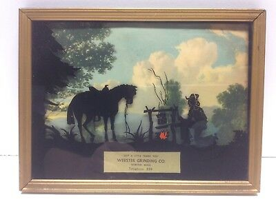 Vintage Advertising Picture Lithograph Reverse Painting Cowboy Cooking Scene N6