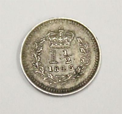 1843 Great Britain 1 1/2 Pence silver coin KM728 nice original VF25+
