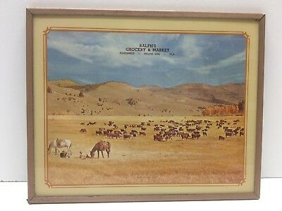 Vintage Advertising Picture Lithograph Cowboys And Cattle Scene N6