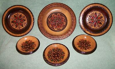 Vintage Polish wooden decorative plates Lot of 6 pieces Decorative Wooden Ware