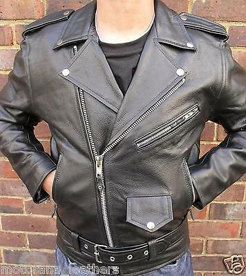 Mens Black Motorcycle Motorbiker Brando Perfecto Classic Leather Jacket1