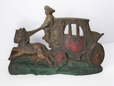 Vintage Antique Cast Iron Horse Drawn Stage Coach Book End Door Stop