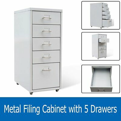 5 Drawer Metal Filing Cabinet Office Storage Organizer Large Storage Space  Home
