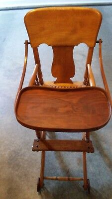 Antique Wooden Baby High Chair Potty Chair Folds Down To