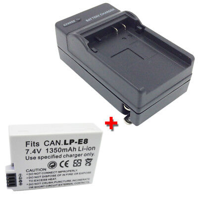 LP-E8 Battery + Charger For Canon Rebel T5i T4i T3i T2i X5 EOS 550D DSLR Camera