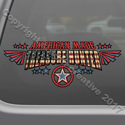American Made Treasure Hunter Decal Sticker metal detecting window decal sticker
