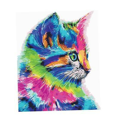 Baoblaze Oil Painting Paint By Numbers Kit On Canvas for Adults Kids Cat