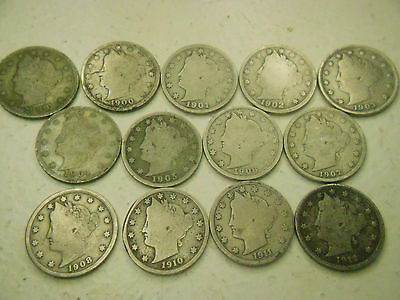 1900 01 02 03 04 05 06 07 08 10 11 12  V NICKEL U PIC 1 and $1 SHIPS ALL