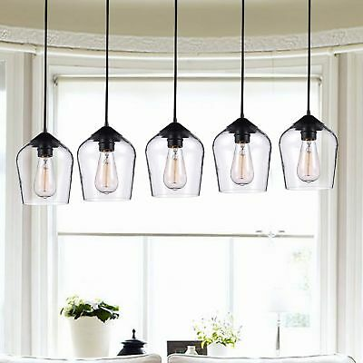 Belinda Antique Black Finish Clear Glass 5 Light Pendant Chandelier
