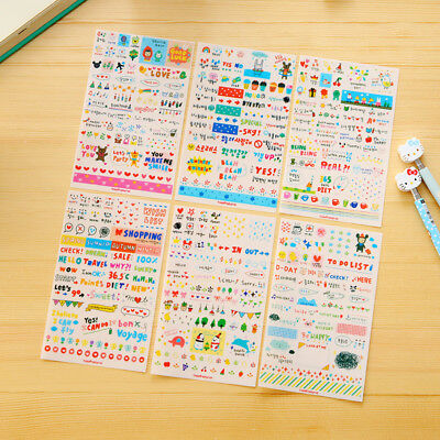 6 Sheets/Pack Drawing Planner Paper Diary Decor Stickers Pvc Scrapbooking Gift