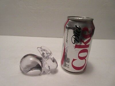 """Daum France Crystal Rabbit Figurine or Paperweight, 3-1/2"""" Long, Etched Marked"""