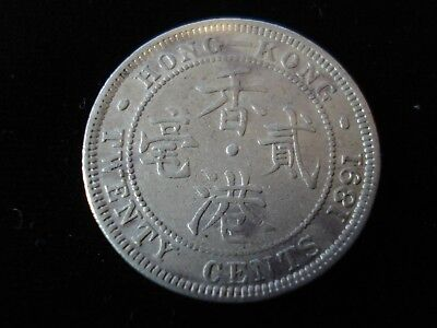 Hong Kong 1891 20 Cent Silver Coin Better Grade #BD6