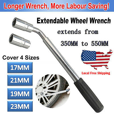 Universal Trailer Lug Tire Wrench Telescopic Extending Car Wheel 17/19 21/23MM