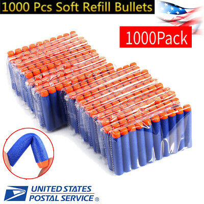 1000 PCS Refill Foam Darts for Nerf N-strike Elite Series Blasters Bullets Gray