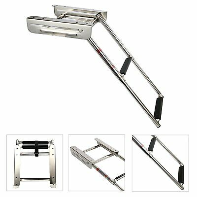 2-step Under Platform Slide Mount Boat Boarding Ladder Telescoping, Stainless