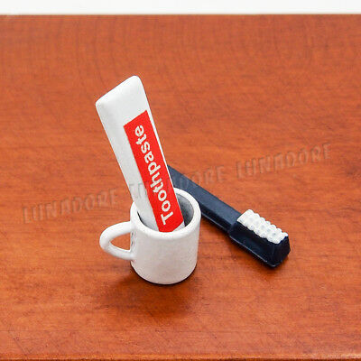 1/12 Miniature 3PCS Toothpaste Toothbrush Cup Bathroom Accessories Dollhouse New