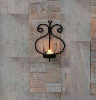 BLACK WALL SCONCE Candle Holder Tealight Hanging Lamp Christmas ...