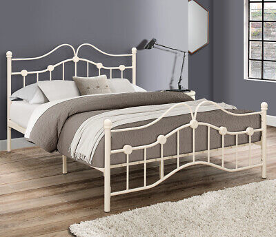 Canterbury Cream Metal Traditional Bed with 4 Mattress and 3 Size Options