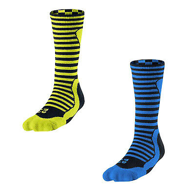 Nike Men Air Jordan X 10 AJ10 Jumpman Basketball Crew Socks Blue Yellow