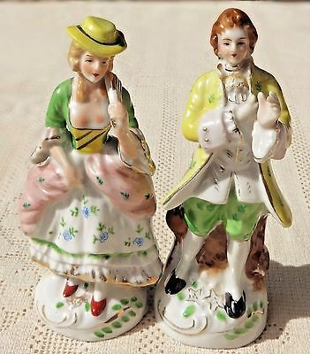 VINTAGE MID-20th CENTURY HAND PAINTED PORCELAIN COLONIAL FIGURINES - JAPAN