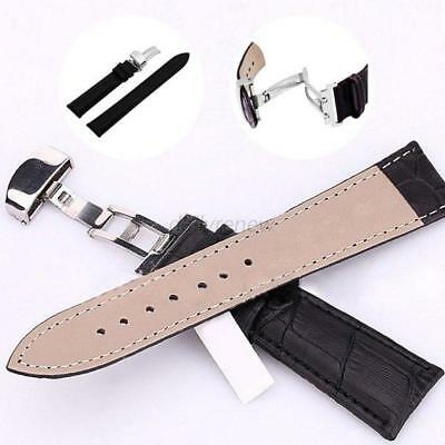 Leder Uhrband Uhrenarmband Watch Leather Strap Band Belts Butterfly Clasp Buckle