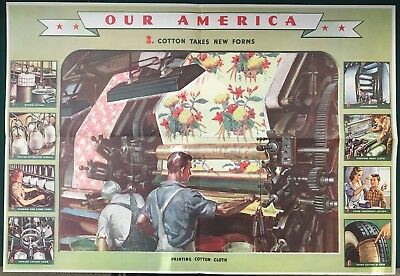 1943 COCA-COLA OUR AMERICA COTTON: USES (POSTER 3) WWII, Vintage & Original