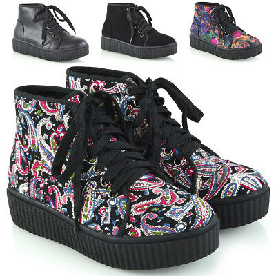 Womens Ankle Boots Lace Up Creeper Rubber Platform Ladies Combat Goth Shoes Size