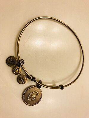 """Extremely Rare Gold Alex And Ani  VINTAGE """"C"""" Initial Charm Bracelet"""