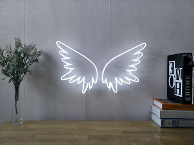 New Angel Wings Neon Sign For Bedroom Wall Decor Artwork With Dimmable Dimmer