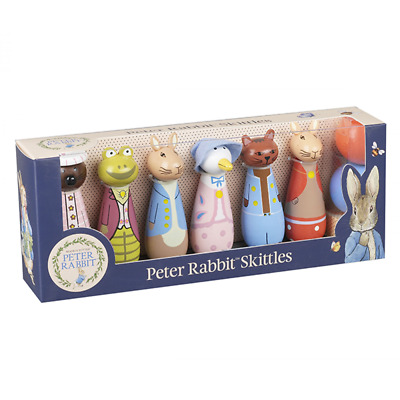 NEW Peter Rabbit Wooden Skittles Bowling Set Toys for Baby Toddler Kids Fun Play