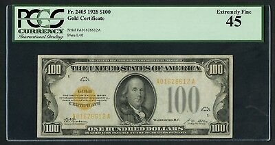 Fr2405 $100 1928 Gold Note Pcgs 45 Choice Xf Wlm4961