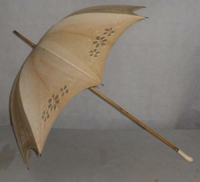 Vintage Cream Canopy Floral Detail Umbrella - With A Rounded Carved Handle