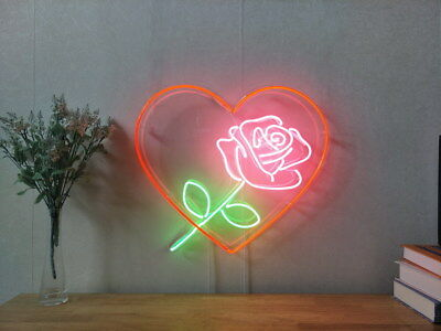 New Love Heart Rose Neon Sign For Bedroom Wall Home Decor Artwork With Dimmer