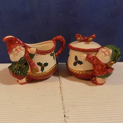 Fitz & Floyd Christmas Old World Elf Christmas Covered Sugar And Creamer - Excel