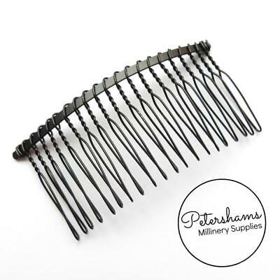 "8.5cm (3.25"") Black Metal Hair Comb for Millinery & Tiaras"