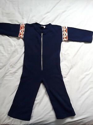 """Vintage Girls Boys Navy Jumpsuit - Acrylic """"Knitissimo by Brig-A-Doon"""" jumper"""