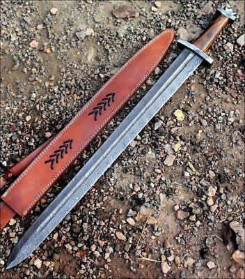 HandMade Damascus Steel Knife 32 Inches Rose Wood Handle Viking Sword 786-66