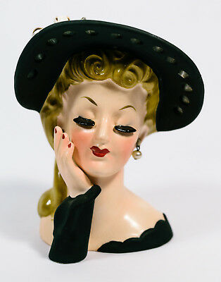 1959 Napco C569 Lady Head Rita Hayworth Black Hat Ceramic Planter  Vase *