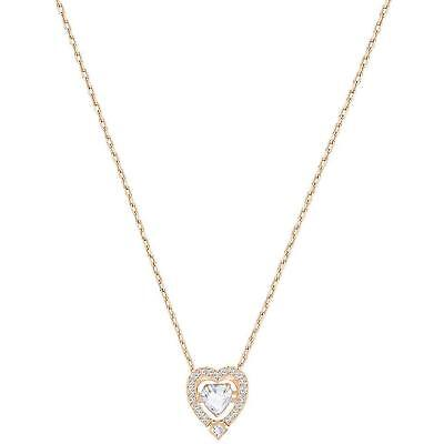 Swarovski Jewelry Rose-Gold Tone White Sparkling Dance Heart Necklace