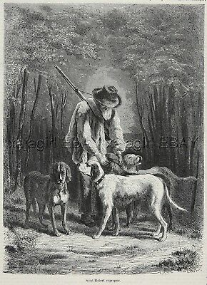 Dog Bloodhound St. Huberts & Porcelaine, Huntsman 1870s Antique Print & Poem