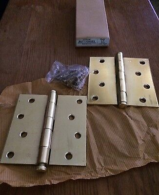 "NOS Fernum #941 4"" x 4"" MORTISE DOOR BUTT HINGES--Lot of 2 pair with screws"